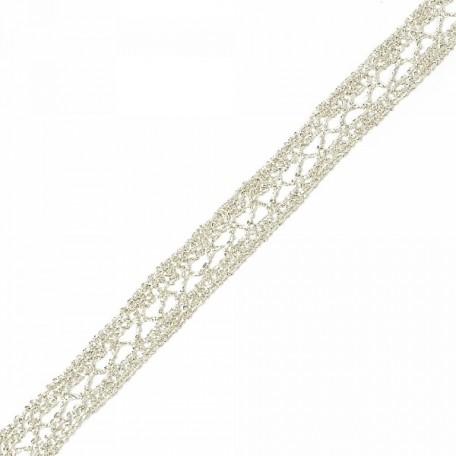 Кружево вязаное арт.A1176.02 шир.15мм цв.серебро уп.9,14м