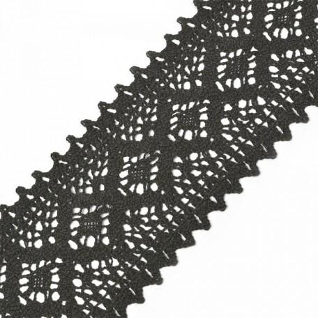Тесьма вязаная TBY-5160-1.03 шир.75мм цв.черный уп.9,14м