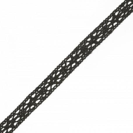 Тесьма вязаная TBY-5453-2.03 шир.15мм цв.черный уп.9,14м