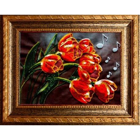 Набор для вышивания бисером 'ВЫШИВАЕМ БИСЕРОМ' арт.A14 Тюльпанчики 27,5х19,5 см