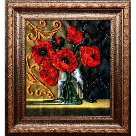 Набор для вышивания бисером 'ВЫШИВАЕМ БИСЕРОМ' арт.A15 Маковый букет 19х21,5 см