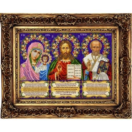 Набор для вышивания бисером 'ВЫШИВАЕМ БИСЕРОМ' арт.A6 Иконостас с молитвами 36х27см