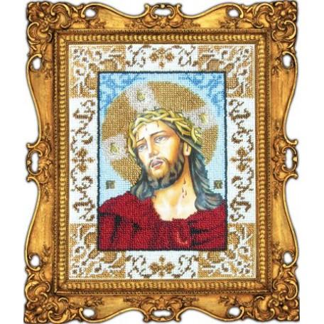 Набор для вышивания бисером 'ВЫШИВАЕМ БИСЕРОМ' арт.L10 Иисус в терновом венке 18x24 см