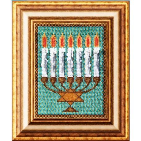 Набор для вышивания Вышивальная мозаика арт. 018РВ.Менора-семисвечник 19,5х25см