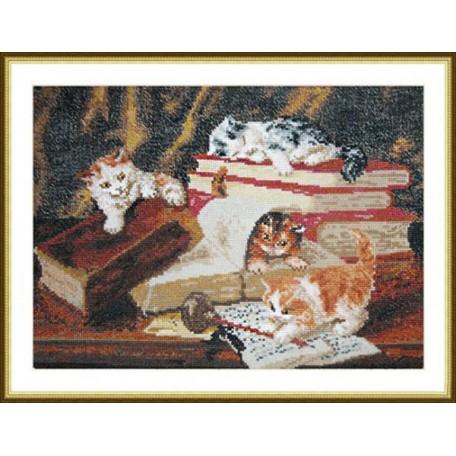 Набор для вышивания арт.ВЫШ -К-02 'Котята,играющие на столе' 31x21 см