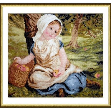 Набор для вышивания арт.ВЫШ -К-07 'Девочка с яблоками' 32x26 см
