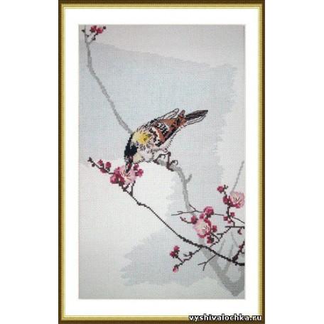 Набор для вышивания арт.ВЫШ -В-04 'Птица на цветущей ветке' 19x32 см