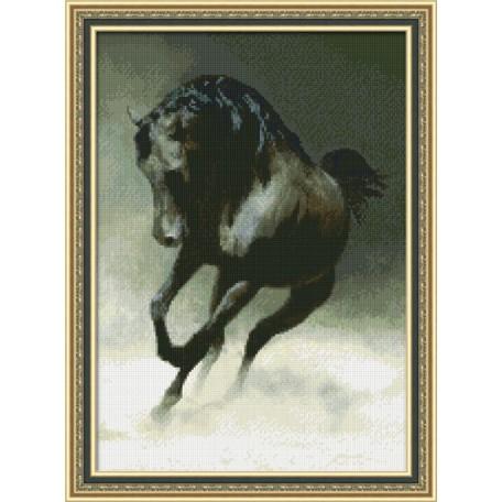 Набор для вышивания 'Юнона' арт.0113 'Черный конь' 22,5х32см