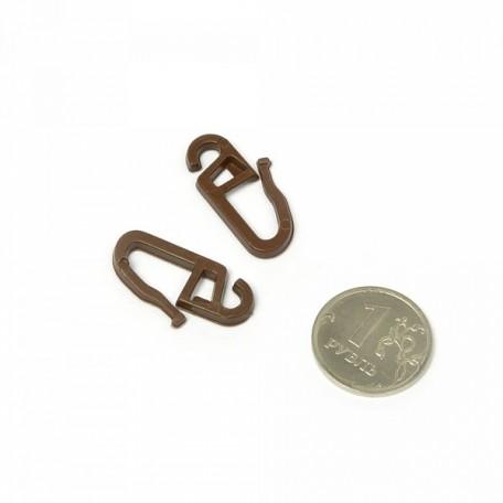 Крючок пластик с защелкой на кольцо цв.т.коричневый уп.100шт А