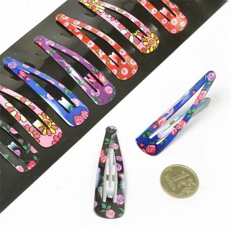 Заколки клик клак для волос арт.MS.AV.NV.F5 детские с рисунком 5 см ассорти упак. 10шт