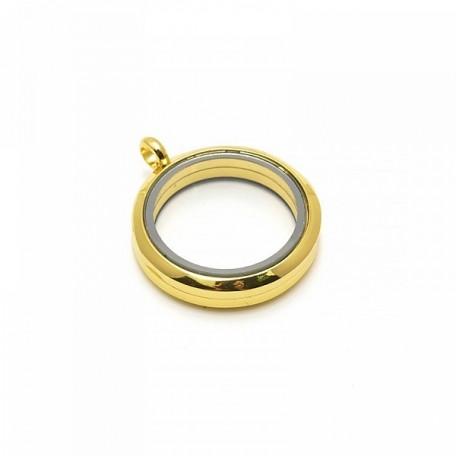 Бусина-подвеска (локет) стеклянные TESОRO арт.TS.8542-1G цв.золото 30 мм