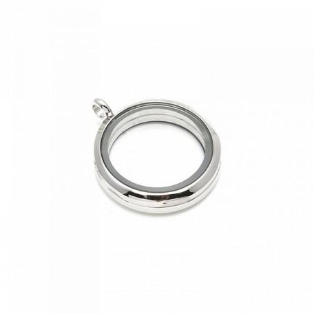 Бусина-подвеска (локет) стеклянные TESОRO арт.TS.8542-1N цв.серебро