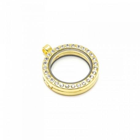 Бусина-подвеска (локет) стеклянные TESОRO арт.TS.8542-3LG цв.золото