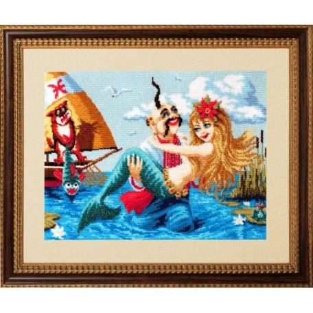 Набор для вышивания бисером 'Золотые Ручки' арт. ВГ-012 'Рыбы' 40х30 см