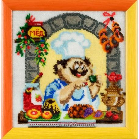 Набор для вышивания бисером 'Золотые Ручки' арт. ВК-001 'Чай с баранками' 21x21 см
