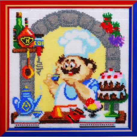 Набор для вышивания бисером 'Золотые Ручки' арт. ВК-008 'Десерт' 21x21 см