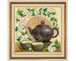 Набор для вышивания крестом 'Золотые Ручки' арт. М-032 'Зеленый чай' 15х15 см